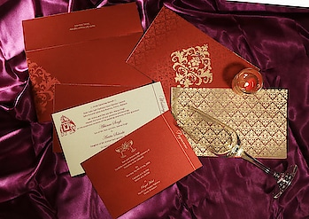 This Red color damask pattern Hindu wedding card hallmark Hindu marriage rituals and customs which are entangled with eternal bonding, affection, and blessing. Order it now: https://www.123weddingcards.com/card-detail/W-8257H  #HinduCard #HinduInvitation #MarriageCards #WeddingCard #DamaskPattern #RedColorCard #MarriageInvite #123WeddingCards