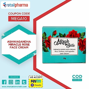 Mirah Belle Naturals Rose – Gokharu – Ashwagandha Miracle Rose Face Cream 50gm  Shop Now-https://bit.ly/2ojGNPU  The rose mulberry nourishing cream which will nourish your skin and hydrate it to just the right amount.  If you do not take proper care of your skin, it loses its nutrients and becomes rough and dull.   #MirahBelleNaturals #MirahBelle #RoseFaceCream #FaceCream #NourushingCream #SkinCare #RetailPharma #BestFaceCream