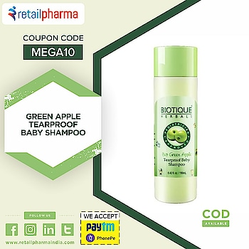 Biotique Bio Green Apple Tearproof Baby Shampoo - 190ml  Shop Now-https://bit.ly/2WbJteb  This 100% Natural tear-proof baby Shampoo is a blend of pure green apple extract, sea algae and centella. It helps to cleanse delicate hair and scalp, without dryness or irritating baby's sensitive eyes.  #BabyShampoo #BiotiqueShampoo #TearproofShampoo #BiotiqueProducts #GreenAppleShampoo #NaturalShampoo #Retailpharma