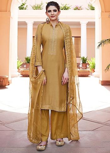 Glamorous Mustard Yellow Palazzo Style Suit is a Classy Combination of Heavy Muslin Kameez, Cotton Bottom & Chiffon Dupatta.  https://www.manndola.com/glamorous-mustard-yellow-palazzo-style-suit