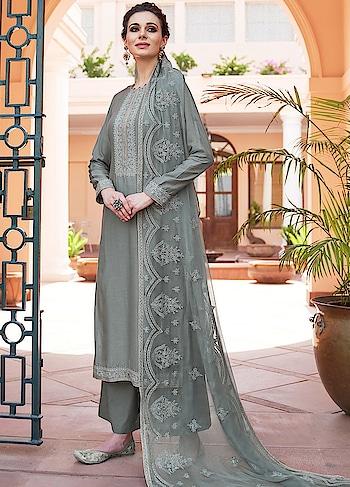 Pretty Grey Palazzo Style Suit is a Classy Combination of Heavy Muslin Kameez, Cotton Bottom & Chiffon Dupatta.  https://www.manndola.com/pretty-grey-palazzo-style-suit