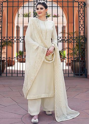 Smashing White Palazzo Style Suit is a Classy Combination of Heavy Muslin Kameez, Cotton Bottom & Chiffon Dupatta.   https://www.manndola.com/smashing-white-palazzo-style-suit