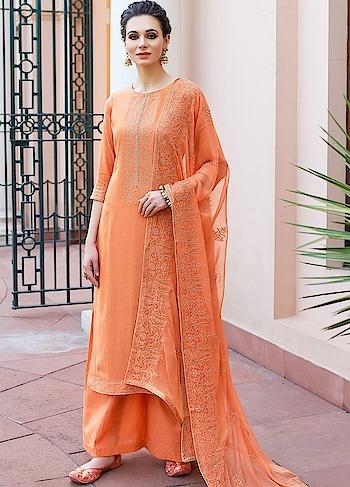 Pleasing Orange Palazzo Style Suit is a Classy Combination of Heavy Muslin Kameez, Cotton Bottom & Chiffon Dupatta.  https://www.manndola.com/pleasing-orange-palazzo-style-suit