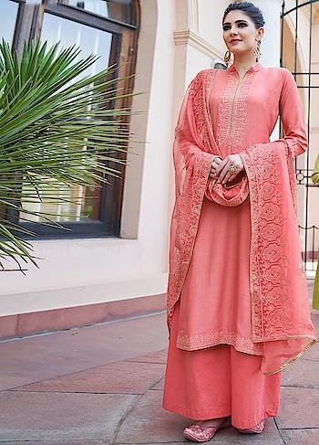 Stunning Peach Palazzo Style Suit is a Classy Combination of Heavy Muslin Kameez, Cotton Bottom & Chiffon Dupatta.  https://www.manndola.com/stunning-peach-palazzo-style-suit