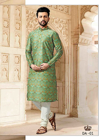 SILK INDIA PRESENTED DIGITAL AURA COLLECTION  #menswear #indianwear #designerwear #festivewear #weddingwear #factionwear #printedkurta #greenkurta #digitalkurta #polycotton #whitebottom #designerwear to know more details please whats app on 9820936178