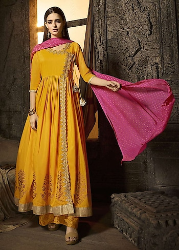 Dress Up In This Latest Collection Of Mustard Yellow Kurti And Palazzo, Features In Muslin Fabric With Intricate Embroidery And Georgette Dupatta  https://www.manndola.com/graceful-mustard-yellow-palazzo-style-suit#