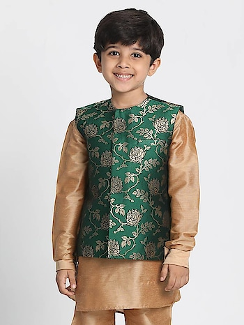 Exclusive collection of #NehruJacketForKids available at Mirraw, in affordable prices and attractive patterns : https://www.mirraw.com/designers/vastramay/designs/green-printed-silk-blend-boys-nehru-jacket