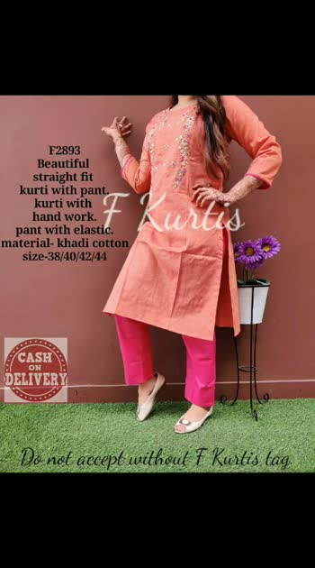 *F2893,F2894*  *_Beautiful straight fit kurti with pant.kurti with hand work.pant with elastic._*  material- khadi cotton size-38/40/42/44 Price-₹1650 free ship  Ready to despatch 💕