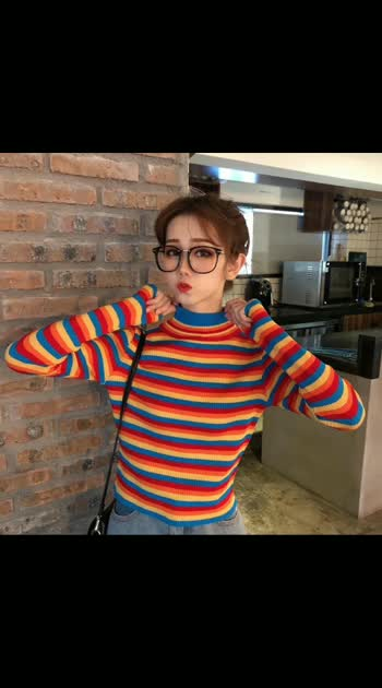 👗 *Beautiful 2019 Rainbow Knitted Long Sleeve Turtleneck Casual Pullovers Sueter Mujer Tops Korean Striped Knitted top* 👗  🍒Fabric - knitted  Size - free ( upto 36)  Price- 750+shipping  *single color*  Gud Qlty 👌  *Ready for Dispatch* book your order fast ➖➖➖➖➖➖➖➖➖➖  ✖✖✖✖✖✖✖✖✖✖✖✖✖✖