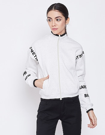Madame - Women White Casual Sweatshirt  Link: https://bit.ly/2QoShxu  #sweatshirt #madame #womenfashion #wintercollection2019 #jacket