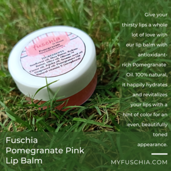Pucker up! Smooth, soothe and protect lips naturally. Shea butter, natural beeswax, vitamins and natural oils protect and nourish lips, leaving them kissable soft.  Order Online: WWW.MYFUSCHIA.COM  #NaturalSkincare #SkinncareTreatment #Beautyaddicts #Naturalbonds #LipBalm #Liveyoung #Softlips #PomegranateLipBalm