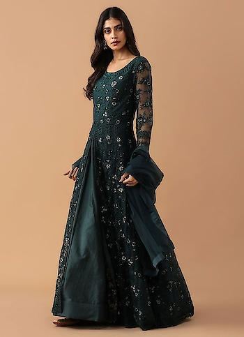 Diya Online - Dark Green Jacket Style Anarkali Suit  Link: https://bit.ly/2qnQWMP  #anarkalisuit #diyaonline #jacketsuit #fashion #suit #saree #lehenga #blackfridaysale #offer #blackfriday2019