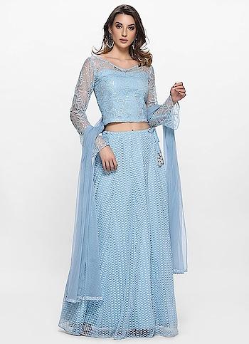 Diya Online - Pristine Blue Schiffly Net Lehenga Set  Link: https://bit.ly/2O90uUF  #diyaonline #lehenga #suit #saree #fashion #blackfridayoffers #blackfriday2019