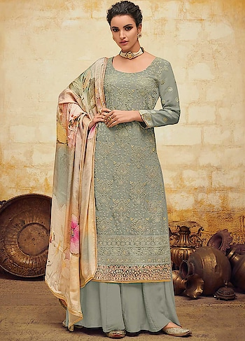 Make a Style Statement with this Delightful Grey Palazzo Style Suit Featuring Embroidered Georgette Top & Santoon Bottom with Digitally Printed Pure Chiffon Dupatta.  https://www.manndola.com/delightful-grey-party-wear-palazzo-style-suit