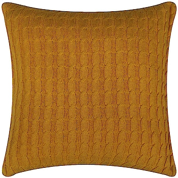 Home Interiors - Cable Knit Cushion Yellow  Link: https://bit.ly/37BJqyA  #homeinteriors #cushion #basket #hanging #placemat