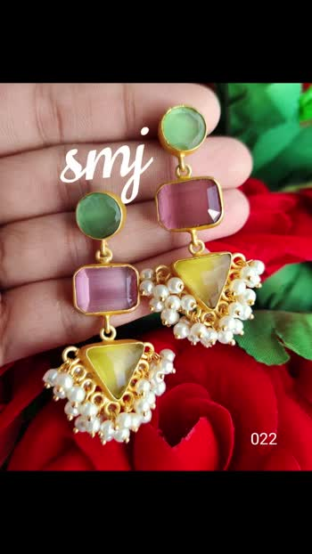 Sur Geometric shapes earrings with cluster pearls and high quality glass stones Rs. 520/-+$ ☀  smj022