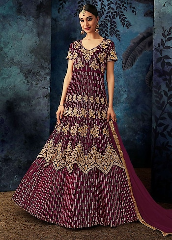 Time to Glamour your look with this Glossy Wine Party Wear Anarkali Style Suit. This Lovely Dress is a combination of Embroidered Georgette Top Followed with Santoon Inner and Bottom with Beautiful Bemberg Chiffon Dupatta .  https://www.manndola.com/glossy-wine-party-wear-anarkali-style-suit