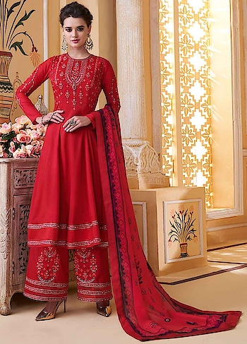 Make a Style Statement with this Delightful Red Palazoo Style Suit Featuring Heavy Embroidered Muslin Top & Embroidered Santoon Bottom with Digitally Printed Pure Muslin Dupatta.  https://www.manndola.com/delightful-red-party-wear-palazzo-style-suit
