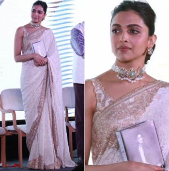 Deepika in a party wear saree