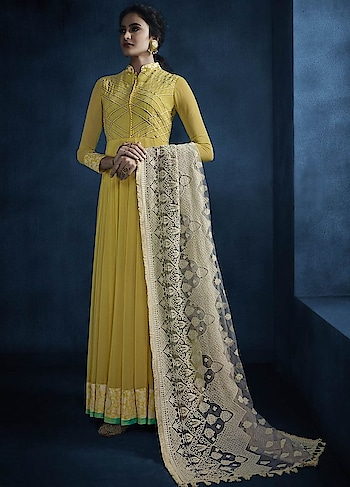 Amp Up your Ethnic look with this Fetching Yellow Party Wear Readymade Anarkali Style Suit. This Suit features Faux Georgette Silk Top & santoon inner with lakhnavi work Dupatta.  http://bit.ly/2Phd3Ng  #christmasale, #designersuits,#bollywoodsuits, #weddingsuit, #freeshipping, #buyanarkalionline,#anarkalionlineshopping,#cod,#expressshipping ,#onlineshoppingindia,#onlineshoppingusa,#manndola