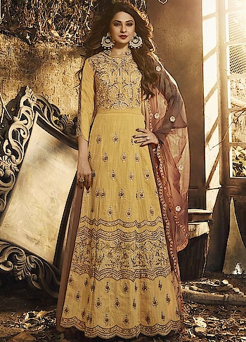 Glam up your ethnic style with this Graceful Yellow Party Wear Anarkali Style Suit Starring Jennifer Winget.This Suit Features Pure Silk Top with Santoon inner & Net Skirt. The Net Dupatta makes your Dress Exquisite.  http://bit.ly/366KY1L  #christmasale, #designersuits,#bollywoodsuits, #weddingsuit, #freeshipping, #buyanarkalionline,#anarkalionlineshopping,#cod,#expressshipping ,#onlineshoppingindia,#onlineshoppingusa,#manndola