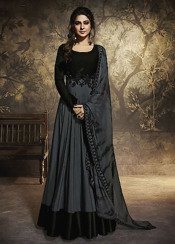 Enhance your look with this Anarkali Style Suit Starring Jennifer Winget. An Attractive Black and Grey Party wear Anarkali Style suit features pure silk Chanderi Black Georgette floor length Anarkali. This Beautiful Dress is Embellished with Hand work, Diamond, Black cording Lace with Black Floral work on waist and Four sided Border Dupatta that Adds grace to the whole Dress.The gorgeous dress comes without bottom as the Dress is Floor length.  http://bit.ly/38fD1JQ  #christmasale, #designersuits,#bollywoodsuits, #weddingsuit, #freeshipping, #buyanarkalionline,#anarkalionlineshopping,#cod,#expressshipping ,#onlineshoppingindia,#onlineshoppingusa,#manndola