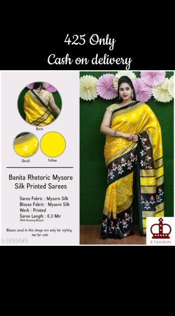 Stylish Mysore Silk Printed Saree Fabric: Saree - Mysore Silk  , Blouse - Mysore Silk Size: Saree Length With Running Blouse - 6.3 Mtr Work: Printed