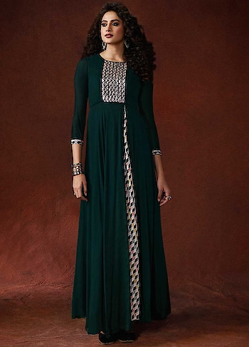 buy now @ http://bit.ly/2PZh1un  This cherishing Dark Green Partywear Readymade Digital Printed Gown is a gorgeous ensemble of floor length 8 metres flaired gown with print on slit pattern.  #christmassale,#indianethnicwear,#shoppingonline,#anarkalisonline,#designeranarkalisuits,#indianfashion,#fashioninsta,#readytowear