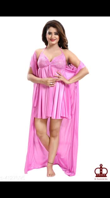 585 Only Cash on delivery Fancy Satin Night Dresses Fabric: Satin Sleeves: Nighty - Sleeves Are Not Included, Robe - Short Sleeves Are Included Pattern: Solid Multipack: 1 Size: Up To 28 in To 36 in (Free Size)