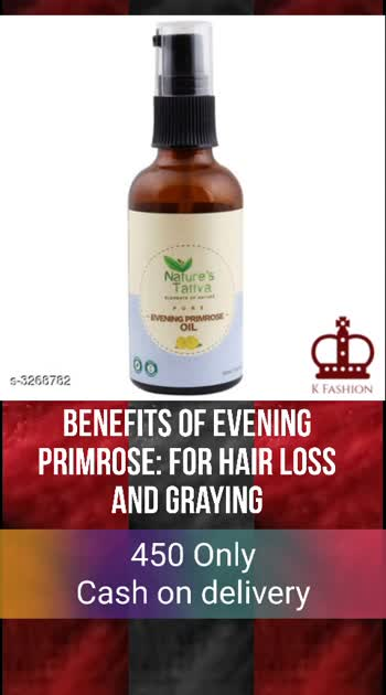 Nature's Tattva Cold Pressed Evening Primrose Oil  Product Name: Nature's Tattva Cold Pressed Evening Primrose Oil Brand Name: Nature's Tattva Product Type: Oil Capacity: 50 ml Product Description: Evening primrose is a summer flower which is native to Europe. The seed of the yellow evening primrose flower is packed with nutrients and is a skincare powerhouse.Evening primrose is a summer flower which is native to Europe. The seed of the yellow evening primrose flower is packed with nutrients and is a skincare powerhouse.Benefits of Evening Primrose:For hair.Hair Loss And Graying-Healthy hair requires, among other things, a good supply of nutrients including essential fatty acids that nourish the scalp. Emerging research is of the opinion that, like with skin, oxidative stress may be a key factor in aging. In other words, both hair loss and graying of hair could be linked to oxidative stress. For Skin:Tired Skin-You should be able to rejuvenate tired skin with the oil, which helps with better blood circulation and oxygen supply to your skin. Use a cotton ball to dab some on to your skin, which also moisturizes your skin. Just be sure to mix it with a light organic carrier oil, like coconut oil.Dark Circles And Tired Eyes:-A few remedies suggest using EPO to reduce dark circles. Simply dab it on as a topical remedy, diluted with a milder carrier oil like virgin coconut oil and vitamin E oil.For tired or strained eyes, besides nutrients like vitamin A, some suggest taking an EPO supplement to cut inflammation and swelling.Due to its toning properties that tighten up your skin, plus its anti-inflammatory action, the oil may help with dark circles. UV Ray And Sun-Damaged Skin:-EPO is among an array of natural herbal remedies that can nurture the skin that's in need of repair, as is the case with sun-damaged skin. It can soothe your skin, moisturize it, and prevent it from drying out and worsening UV ray linked damage. Package Contains: It Has 1 Pack of Primrose Oil