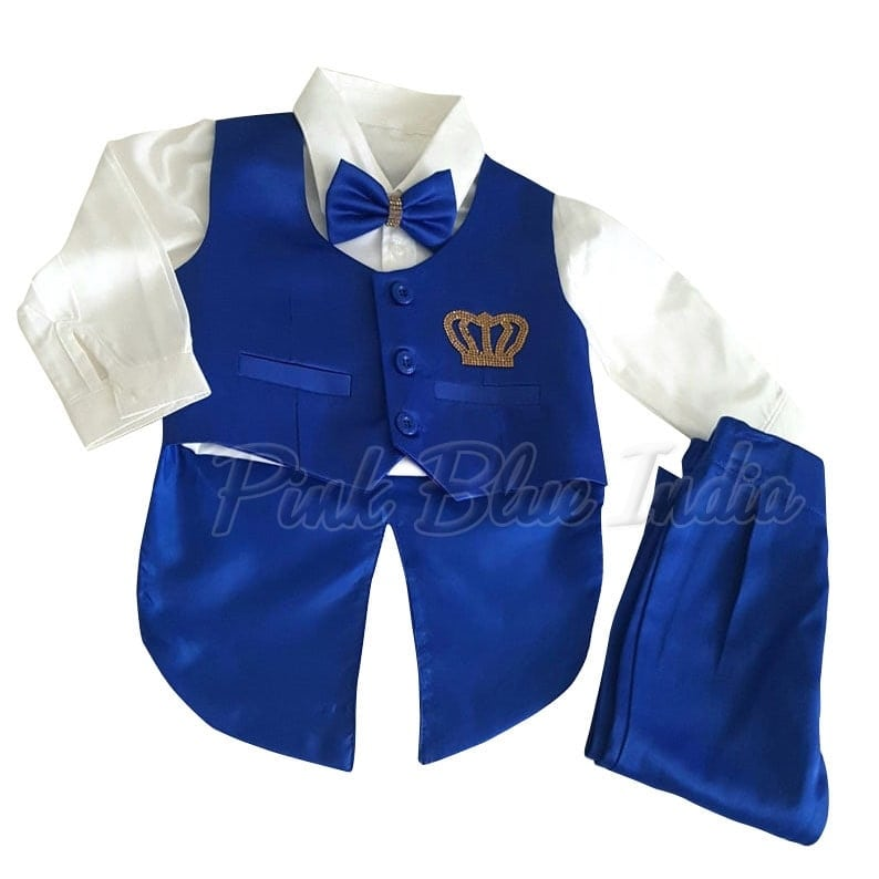 Baby Boy's Custom Made Royal Blue & White Birthday Tailcoat Suit To order, please connect with us on WhatsApp here, https://api.whatsapp.com/send?phone=918003550118 or Shop Online @ https://www.pinkblueindia.com/baby-boy-wedding-tuxedo-suit.html  #kidsfashion #kidswear #formalclothes #birthdaydress #weddingsuits #birthdaysuit #kidsceremoniedress #boysuit #boytuxedo #gentlemanstyle #boysbirthdayoutfit #Trouser #Shirt #boysclothing #TuxedoSuit #luxurykids #partywear #boypartysuit #mumbai #delhi #jaipur #usa #instalikes #celebritykidswear #pinkblueindia