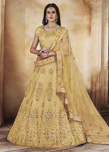 buy now : 2StAh60  Pretty Yellow Party Wear Lehenga Choli  #christmassale,#indianethnicwear,#shaadiwalalehenga,#weddingghagracholi,#shoppingonline,#anarkalisonline,#partywearlehengaonline,#designerbridallehenga