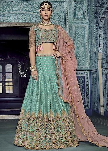 BUY NOW : 2MHpi57   Classic Blue Silk Lehenga Choli   #christmassale,#indianethnicwear,#shaadiwalalehenga,#weddingghagracholi,#shoppingonline,#anarkalisonline,#partywearlehengaonline,#designerbridallehenga