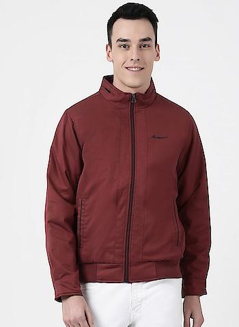 Maroon Plain Collar Jacket Link: http://bit.ly/2ZJbBIf  #jacket #winterwear #montecarlo #mensfashion #menswear