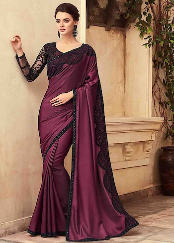 buy now : 2F4e0Uv  Feel Graceful In Wine Party Wear Embroidered Saree  #christmassale,#traditionalsaree,#designerblouse,#indiantraditionalwear,#indiansareeonline,#designerprintedsaree,#partywearsaree