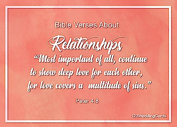 """""""Most important of all, continue to show deep love for each other, for love covers a multitude of sins.""""  #relationship #bibleverses #weddingquotes #loveinspiration #weddinginspiration #lovequotes #bibleversesoftheday #123WeddingCards"""