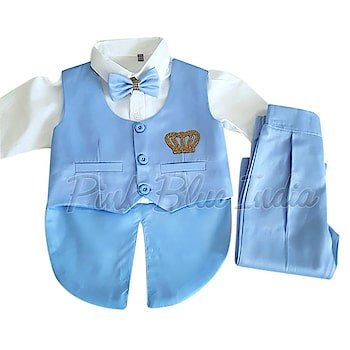 Baby Boy's Custom Made Blue White Wedding Tailcoat Suit To order, please connect with us on WhatsApp here, https://api.whatsapp.com/send?phone=918003550118 or Shop Online @ https://www.pinkblueindia.com/designer-boys-tailcoat-suit.html  #kidsfashion #kidswear #formalclothes #birthdaydress #weddingsuits #birthdaysuit #kidsceremoniedress #boysuit #boytuxedo #gentlemanstyle #boysbirthdayoutfit #Trouser #Shirt #boysclothing #TuxedoSuit #luxurykids #partywear #boypartysuit #mumbai #delhi #jaipur #usa #instalikes #celebritykidswear #pinkblueindia