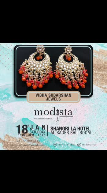 Jewellery that has got us drooling, find @vibha_sudarshan_jewelsdesigner and her beautiful collection which is perfect for that wedding season. . Come shop till you drop on Saturday 18th January, Shangrila Hotel, Dubai from 10 am to 8pm 💥🎆 . .  #Modista #modistarocks #Modistadxb  #shoptillyoudrop #jewelry #onpoint #bloggerapproved #indianjewelry #bridesmaids #brides # #shopping #lifestyle #fashionexhibition #shopnow #shopthislook #exhibition #onedayonly