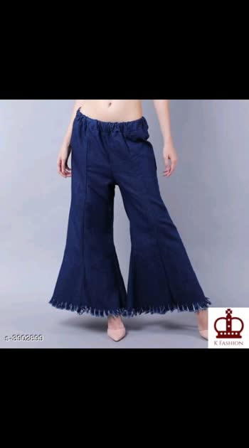 450 Only  Cash on delivery Elegant Attractive Women's Bottomwear Fabric: Denim Waist Size: Up To 28 in To 32 in  Length: Up To 39 in Type: Stitched Description: It Has 1 Piece Of Women's Palazzo Pattern :  Solid