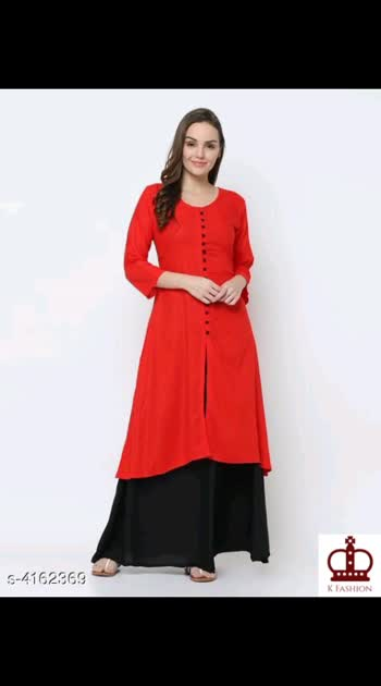 795 Only Cash on delivery Women Rayon Solid Kurta Set with Palazzos Kurta Fabric: Rayon Bottomwear Fabric: Rayon Sleeve Length: Three-Quarter Sleeves Set Type: Kurta With Bottomwear Bottom Type: Skirt Pattern: Solid Multipack: Single Sizes:  XL (Bust Size: 42 in)  L (Bust Size: 40 in)  M (Bust Size: 38 in)  XXL (Bust Size: 44 in)  Skirt Size : M- 44 in,  L- 44 in,  XL - 44 in,  XXL- 44 in