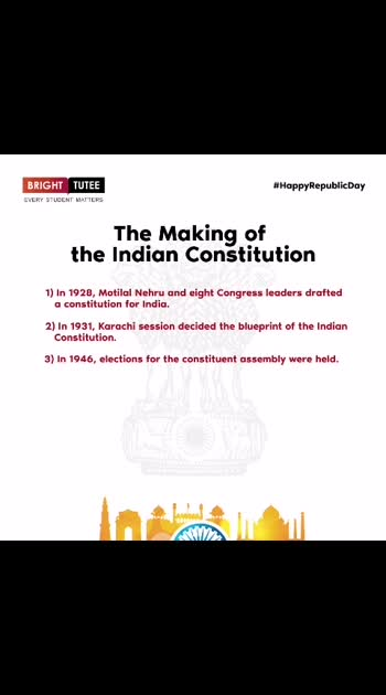 The rigorous timeline of the making of the Indian Constitution draws the significance of what it takes to work on the Constitution for the world's largest democracy. Let's pay homage to the greatest leaders of all time in Indian history. Thank you for giving us our rule book. Thank you for giving us a great nation. #HappyRepublicDay #BrightTutee #LearnwithBT #ScorewithBT #HappyRepublicDay #student #Teachers #Parents