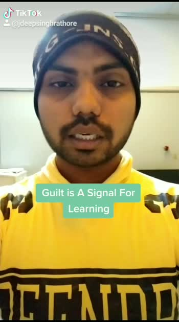 Guilt is Signal For Learning #motivationalpost  #inspirationalwords  #lifechangingtips  #jaydeepsinghrathoremotivation  #motivationalquotes  #guilt  #is  #signal  #for  #learning #roposo  #roposostar