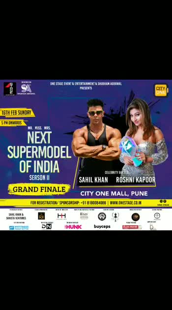 #Pune R u Ready?🔥As a Brand Ambassador of One Stage, I am coming to City One Mall - Pimpri, Pune Pune on 16th February for the biggest beauty pageant of the year, Next Supermodel of India S2- Grand Finale with Sahil Khan organized by One Stage Event & Entertainment in association with Sahil Khan and @theshaistakhan Ventures.  Show Director:Shubham Agrawal Show Co-Director: Himadri S. Heer  So hurry and register now for the blockbuster show of the year 2020.  For Registration: www.onestage.co.in For Sponsorship/ Association: +91 81800 84086