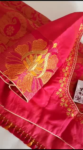Computerized Embroidery blouse design and saree kuchu !!! #embroidery #blousedesign #sareefashion #sareeblouse #embroiderywork #knottythreadz