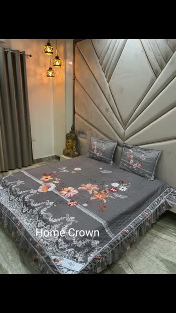 Vbc ,*DreamVille bedspread set*🤩  1 Quilted bedspread that comes with *Panel printing* and  *lace and Frill * on border  2 Quilted  pillow covers also with *lace* on the borders Size -230*250cms  Weight: 2160 Gms *Price : 1500+$🔥* *Available in 12 beautiful designs*  *Attractive bag packing*💼  *Quality product for Quality lovers*😎 *Guranteed Fast colours*💯 *Full stock Available*