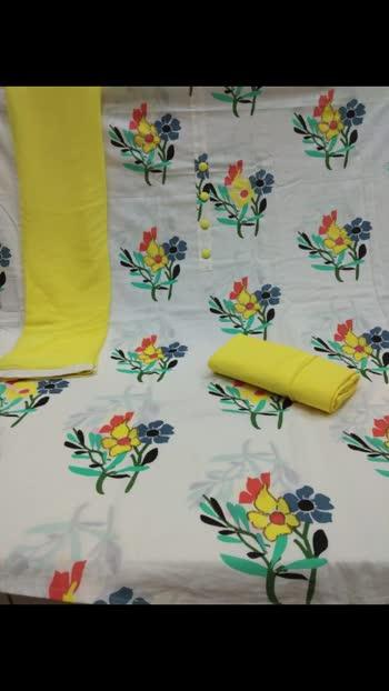 *Top* Jaipuri Cotton Print Handwork *2.5Mtrs*   *Bottom* Cotton   *Dupatta* Chiffon  *Rate*850/-