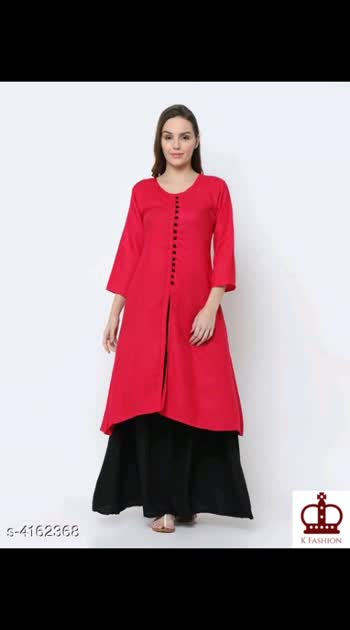 720 Only Cash on delivery Women Rayon Solid Kurta Set with Palazzos Kurta Fabric: Rayon Bottomwear Fabric: Rayon Sleeve Length: Three-Quarter Sleeves Set Type: Kurta With Bottomwear Bottom Type: Skirt Pattern: Solid Multipack: Single Sizes:  XL (Bust Size: 42 in)  L (Bust Size: 40 in)  M (Bust Size: 38 in)  XXL (Bust Size: 44 in)  Skirt Size : M- 44 in,  L- 44 in,  XL - 44 in,  XXL- 44 in