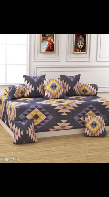 500 ONLy Cash on delivery Elite Polycotton Diwan Sets Fabric: Diwan sheet - Polycotton , Cushion Covers - Polycotton, Bolster: - Polycotton Dimension: ( L X W ) - Diwansheet - 90 x 60 in, Cushion  Cover - 16 x 16 in, Bolster: - 32 x 16 in Description: It Has 1 Piece Of Single Bedsheet, 5 Pieces Of  Cushion Covers & 2 Pieces Of Bolster Covers  Work: Printed Thread Count: 160