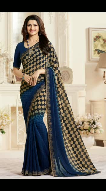 *BEST Quality*   *FABRICS* :- Georgette(print)   *BLOUSE* :- Banglori   *WEIGHT* :- 490 gm.  Size: *Saree -5.50 mtrs,Blouse-0.80 mtrs*   *RATE* :- *750*/-