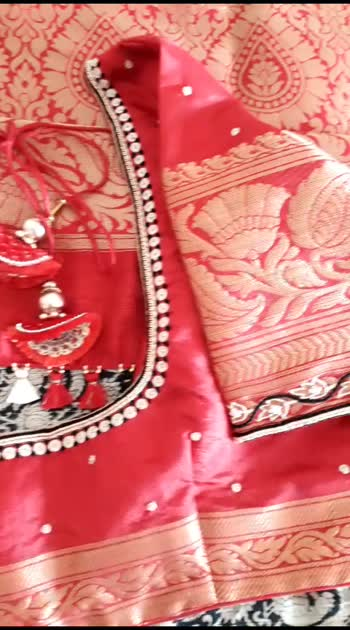 Simple Embroidery on blouse ..   Web - www.knottythreadz.com Blog - www.knottythreadz.net  #blousedesign #sareelove #tassel #designer #blogger  #youtuber